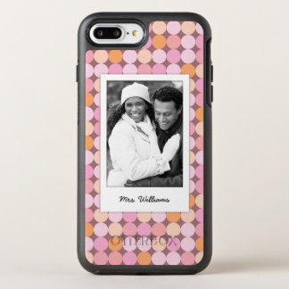 Coque OtterBox Symmetry iPhone 8 Plus/7 Plus Photo et pois rose et orange de nom