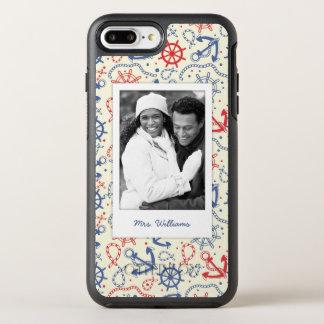 Coque OtterBox Symmetry iPhone 8 Plus/7 Plus Photo et rouge et marine de nom avec l'ancre