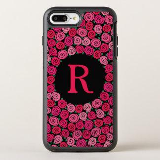 Coque OtterBox Symmetry iPhone 8 Plus/7 Plus Roses roses lunatiques de monogramme personnalisés