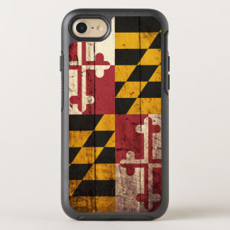 Coque Otterbox Symmetry Pour iPhone 7 Drapeau d'état du Maryland sur le vieux grain en