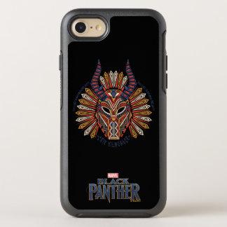 Coque Otterbox Symmetry Pour iPhone 7 Icône tribale noire de masque de la panthère |