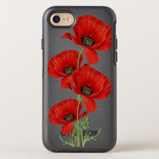Coque Otterbox Symmetry Pour iPhone 7 Illustration botanique vintage de pavots rouges