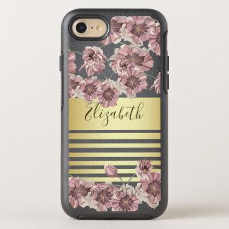 Coque Otterbox Symmetry Pour iPhone 7 Le ressort violet floral de fleur barre chic d'or