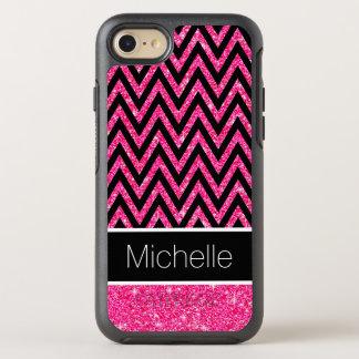 Coque Otterbox Symmetry Pour iPhone 7 Le scintillement rose miroite motif noir de rayure