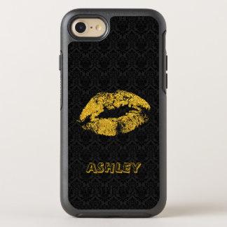 Coque Otterbox Symmetry Pour iPhone 7 Lèvres décorées d'un monogramme de scintillement
