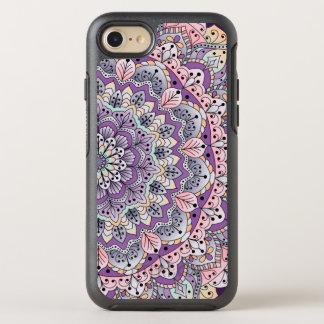 Coque Otterbox Symmetry Pour iPhone 7 Mandala floral rose et pourpre mignon