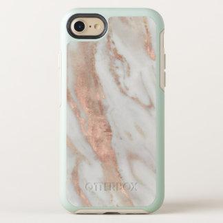 Coque Otterbox Symmetry Pour iPhone 7 Marbre blanc élégant d'or rose élégant