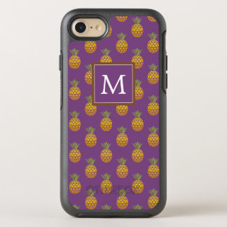 Coque Otterbox Symmetry Pour iPhone 7 Monogramme ananas pourpres et de cuivre de  