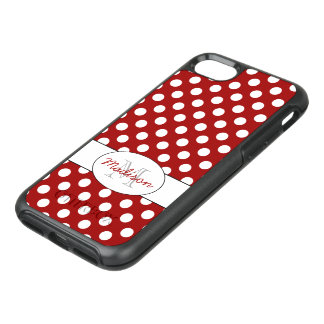 Coque Otterbox Symmetry Pour iPhone 7 Monogramme blanc rouge à la mode de pois