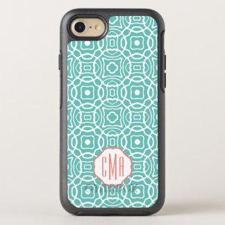 Coque Otterbox Symmetry Pour iPhone 7 Monogramme de Quatrefoil de corail et d'Aqua