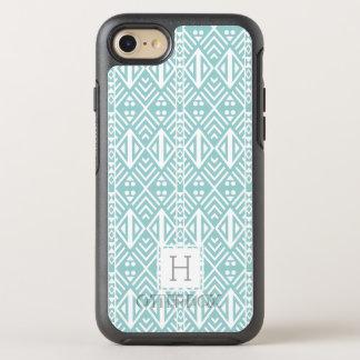 Coque Otterbox Symmetry Pour iPhone 7 Monogramme tribal géométrique de motif d'Aqua en