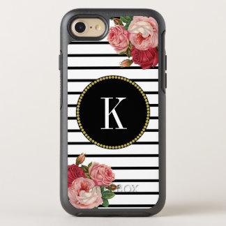 Coque Otterbox Symmetry Pour iPhone 7 Monogramme vintage rayé blanc noir d'or de roses