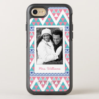 Coque Otterbox Symmetry Pour iPhone 7 Motif coloré aztèque tribal de photo et de nom