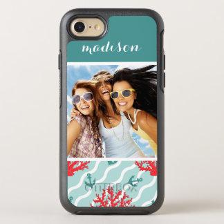Coque Otterbox Symmetry Pour iPhone 7 Motif | de corail rouge votre photo et nom
