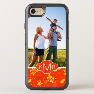 Coque Otterbox Symmetry Pour iPhone 7 Motif orange de plage du monogramme |