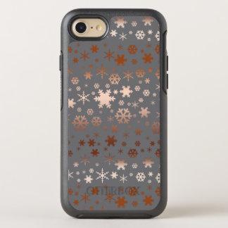 Coque Otterbox Symmetry Pour iPhone 7 Or rose de Noël de motif élégant de flocon de