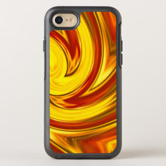 Coque Otterbox Symmetry Pour iPhone 7 orange rouge d'or ardent abstrait de remous