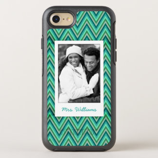 Coque Otterbox Symmetry Pour iPhone 7 Photo et arrière - plan rayé de zigzag de nom