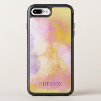 Coque Otterbox Symmetry Pour iPhone 7 Plus Aquarelles abstraites - arrière - plan orange