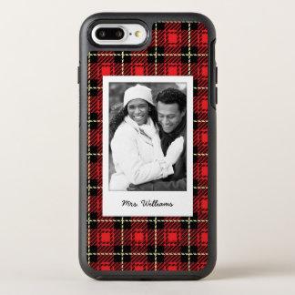 Coque Otterbox Symmetry Pour iPhone 7 Plus Arrière - plan rouge de photo et de plaid de nom