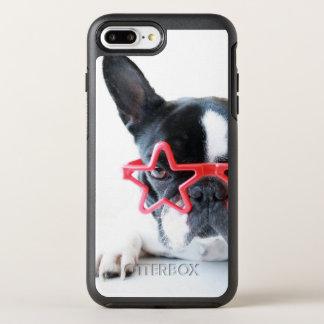 Coque Otterbox Symmetry Pour iPhone 7 Plus Bouledogue français avec les verres rouges