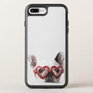 Coque Otterbox Symmetry Pour iPhone 7 Plus Bouledogue français en verres de coeur