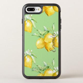 Coque Otterbox Symmetry Pour iPhone 7 Plus Citrons jaunes personnalisés sur vert clair