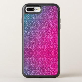 Coque Otterbox Symmetry Pour iPhone 7 Plus Coloré lumineux floral bleu amorti de rose au néon