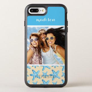 Coque Otterbox Symmetry Pour iPhone 7 Plus Étoiles de mer bleues d'aquarelle   votre photo et