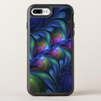 Coque Otterbox Symmetry Pour iPhone 7 Plus Fractale verte rose bleue abstraite lumineuse