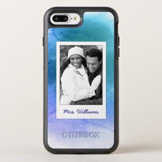 Coque Otterbox Symmetry Pour iPhone 7 Plus L'aquarelle abstraite | de bleu ajoutent la photo