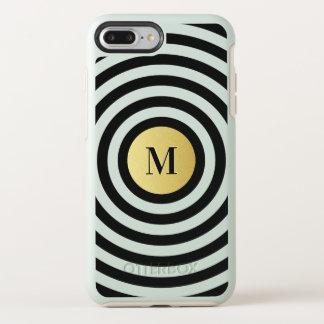 Coque Otterbox Symmetry Pour iPhone 7 Plus Monogramme frais d'or de motif de rayure de noir