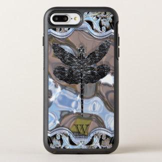 Coque Otterbox Symmetry Pour iPhone 7 Plus Monogramme noir liquide frais de libellule