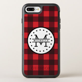 Coque Otterbox Symmetry Pour iPhone 7 Plus Monogramme rouge de nom de bûcheron de plaid de