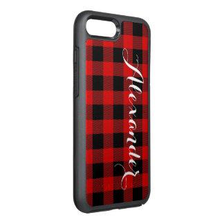 Coque Otterbox Symmetry Pour iPhone 7 Plus Monogramme rouge de nom de plaid de Buffalo noir