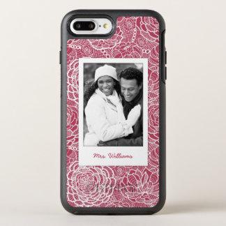 Coque Otterbox Symmetry Pour iPhone 7 Plus Motif de fleurs bleu de dentelle de photo et de