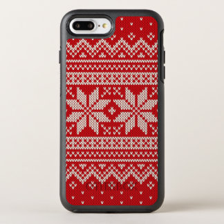 Coque Otterbox Symmetry Pour iPhone 7 Plus Motif de tricot de chandail de Noël - ROUGE