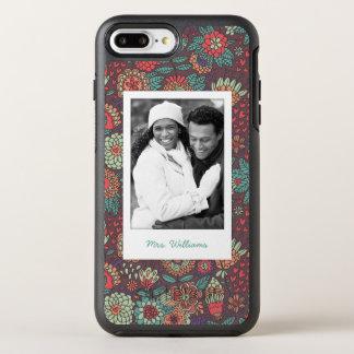 Coque Otterbox Symmetry Pour iPhone 7 Plus Motif floral de bande dessinée de photo et de nom
