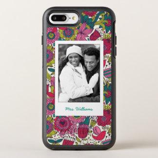 Coque Otterbox Symmetry Pour iPhone 7 Plus Motif floral lumineux de photo et de nom