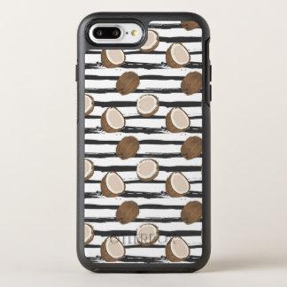 Coque Otterbox Symmetry Pour iPhone 7 Plus Noix de coco sur le motif grunge de rayures