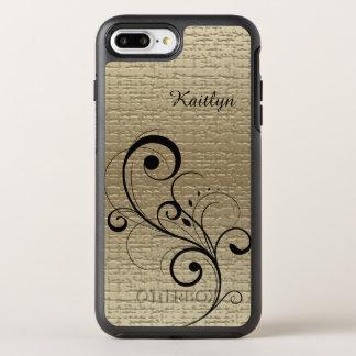 Coque Otterbox Symmetry Pour iPhone 7 Plus Or noir de remous personnalisé