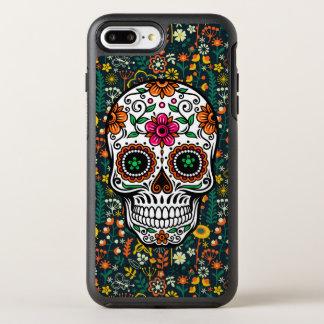 Coque Otterbox Symmetry Pour iPhone 7 Plus Rétros fleurs et illustration colorées de crâne de