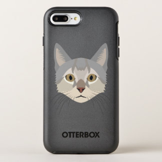 Coque Otterbox Symmetry Pour iPhone 7 Plus Visage de chat d'illustration