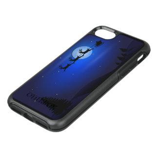 Coque Otterbox Symmetry Pour iPhone 7 Renne de Père Noël au-dessus de lune dans le bleu
