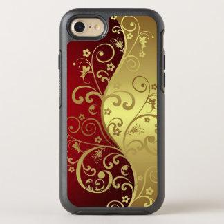 Coque Otterbox Symmetry Pour iPhone 7 Rouge et or avec des vignes sur le cas d'otterbox