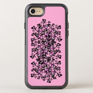 Coque Otterbox Symmetry Pour iPhone 7 Rouleaux noirs de jolis de groupe coeurs abstraits