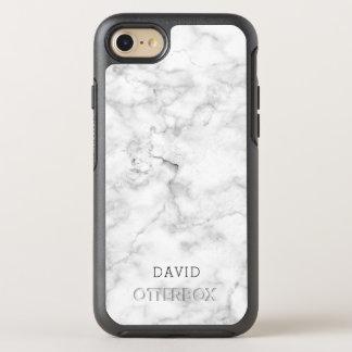 Coque Otterbox Symmetry Pour iPhone 7 Texture de marbre blanche avec le nom fait sur