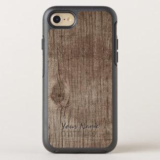 Coque Otterbox Symmetry Pour iPhone 7 Texture en bois simple avec le nom