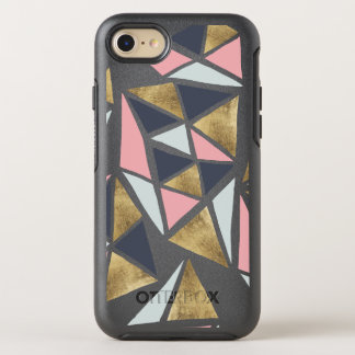 Coque Otterbox Symmetry Pour iPhone 7 Triangles roses géométriques abstraites d'or de