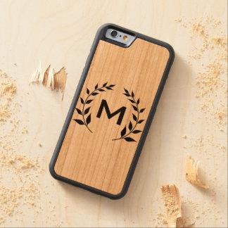 Coque Pare-chocs En Cerisier iPhone 6 Cas en bois naturel de téléphone de monogramme